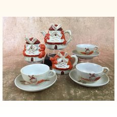 Vintage Doll tea set in unusual windmill shape