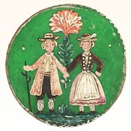 Miniature round painted trinket box