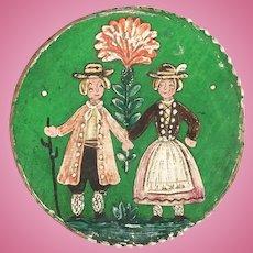 Miniature round painted trinket box