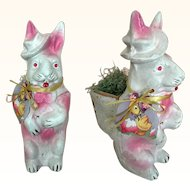 Vintage papier mache Easter rabbit candy container