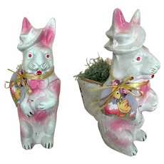 Vintage papier mache Easter rabbit candy container