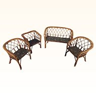 Set of German rattan doll sized furniture