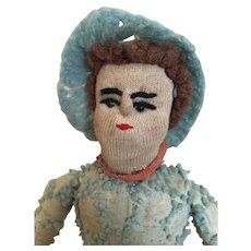 Old handmade stockinette cloth male doll