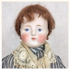 Antique tinted bisque 22 inch solid dome head lady by Alt Beck