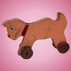 Vintage Primitive wooden cat Pull-Toy