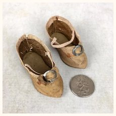 Antique Doll shoes with pointed toes, well loved