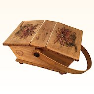 Vintage wooden doll sized basket with poinsettias