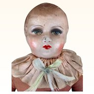 Vintage composition and cloth doll, baby rattle with beautiful face