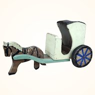 Folk art wooden painted horse and cart