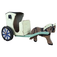 Early vintage Folk art horse and buggy, wagon or handcart