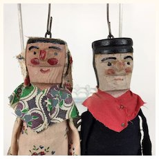 Vintage French pair of wooden marionette dolls
