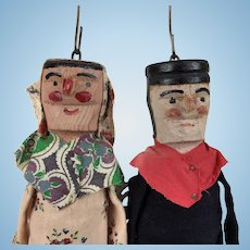 Vintage French wooden marionette dolls