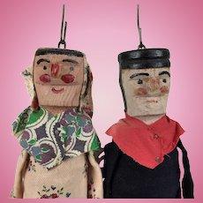 Vintage French wooden marionette dolls