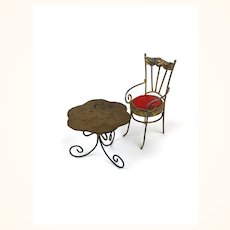 Miniature painted gold metal dollhouse dining set