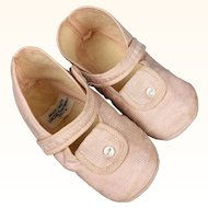 Vintage pink cloth child or baby shoes in excellent condition