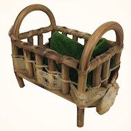 Vintage Fairylite miniature rustic crib