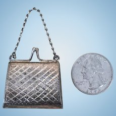Antique miniature silver doll's purse