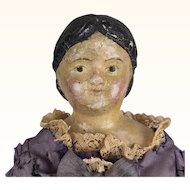 Antique Milliner's Model, early papier mache doll in lovely faded dress