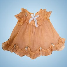Vintage doll dress in lovely peach organdy