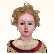 Wax-over papier mache fashion lady doll with lovely dress