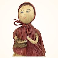 Vintage cornhusk red riding hood doll