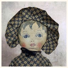 Vintage handmade Nelly Kelly cloth doll
