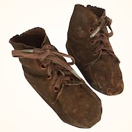 Baby shoes or doll booties for large doll in brown suede