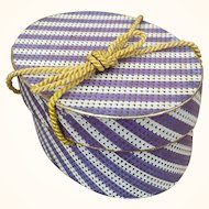 Vintage doll sized hat box lavender and gold stripes