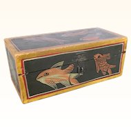 Early vintage folk art painted wooden box