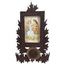 Vintage handcarved and painted wooden folk art frame