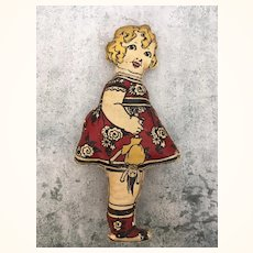 Antique printed cloth doll, Mamma's Angel
