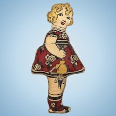 Antique printed cloth doll, Mamma's Angel