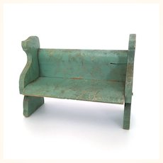 Vintage dollhouse green wooden bench