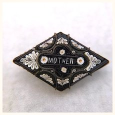 """Antique micromosaic pin with """"Mother"""" inscription"""
