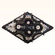 "Antique micromosaic pin with ""Mother"" inscription"