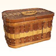 Vintage bamboo rectangular basket with lid