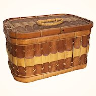 Vintage bamboo rectangular basket with lid
