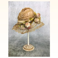 Vintage doll hat with flocked decoration