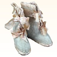 Wool and satin child or baby boots for shabby and sweet display