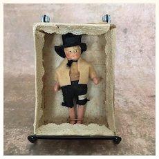 Vintage miniature composition ethnic doll, MIB
