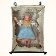 Vintage miniature composition doll, MIB