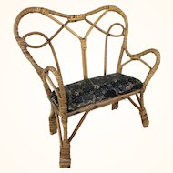 Doll sized rattan bench with oilcloth seat