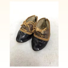 Antique two toned doll shoes