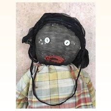 Vintage folk art doll, black doll, stockinette doll, rag doll