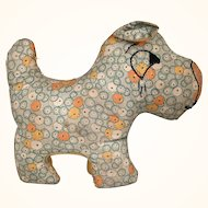 Vintage folk art printed cloth dog