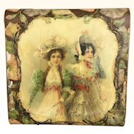 Victorian Celluloid box with two ladies
