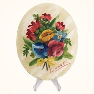 Vintage Floral painting on oval canvas board