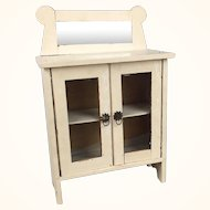 Vintage Doll Sized Wooden Cupboard with Mirror