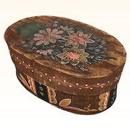 Folk art painted wooden box