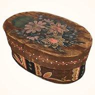 Folk art painted wooden box